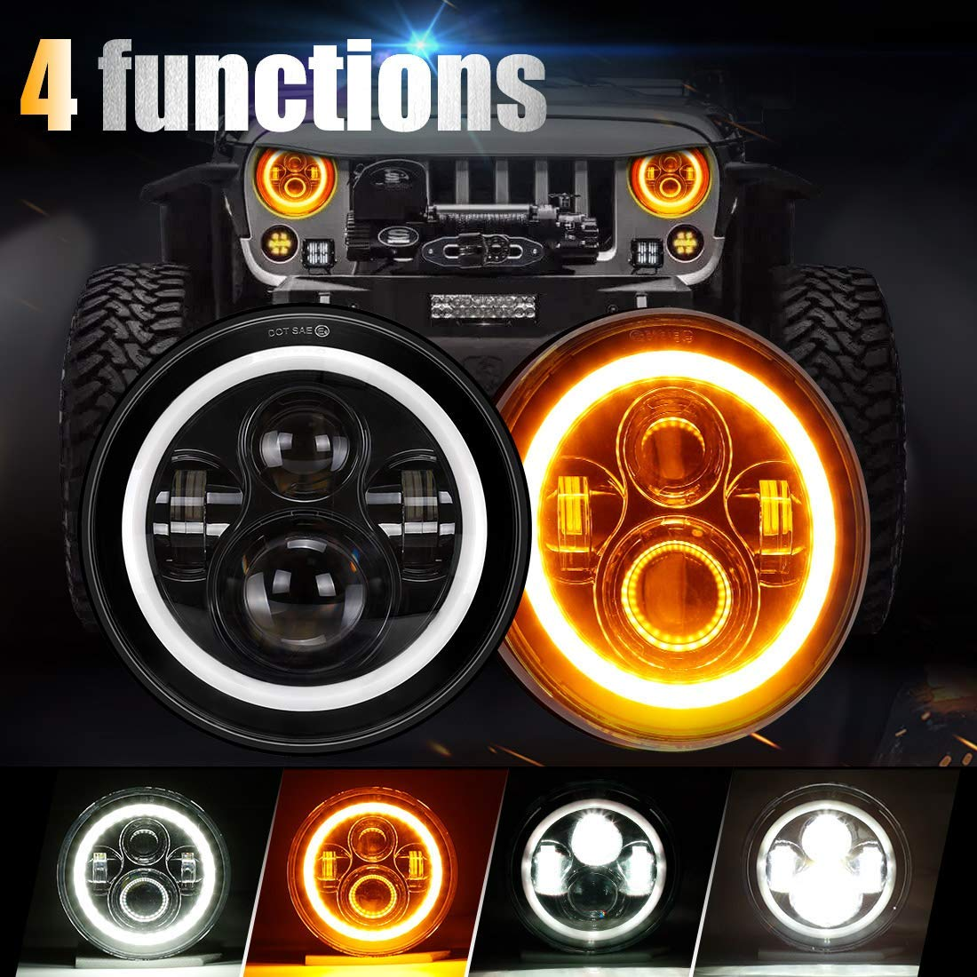 Full Halo 45 Watt LED Headlights – JEEP, Land Rover And Land Cruiser