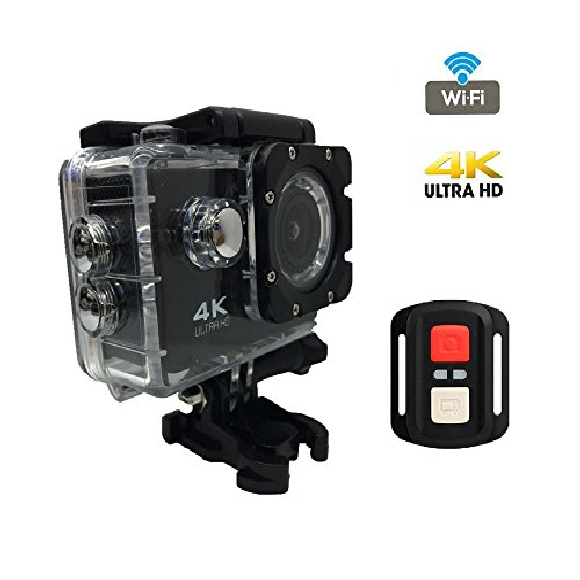 4K HD Waterproof Sports Action Camera With Remote – Black