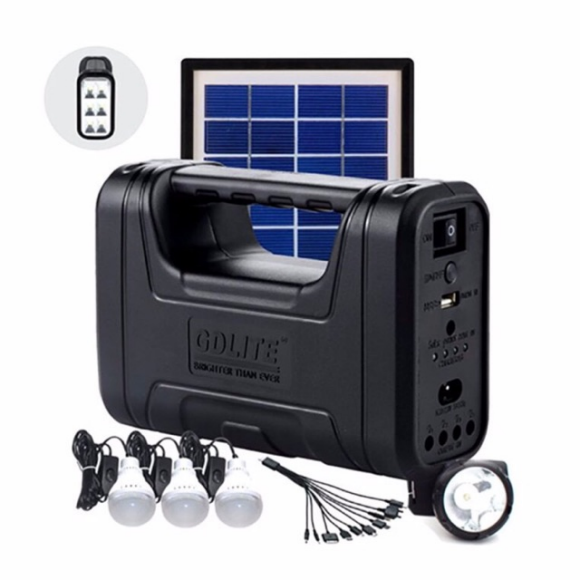 GDLITE Solar Lighting System With A Torch, 3 X SMD LED Bulbs & Solar Panel. Charges Cell Phone