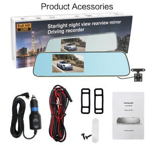 4.3″ Car DVR Touch Dash Cam Recorder G-Sensor Night Vision Rear Mirror Camera
