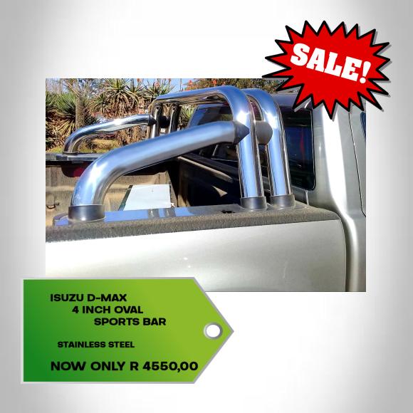 Isuzu D-Max 4 Inch Oval Sports Bar Stainless Steel 2012+