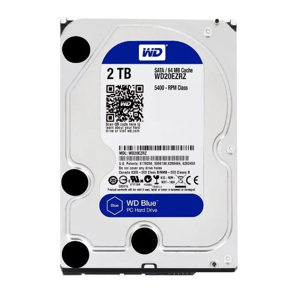 WD Blue 2TB 3.5″ SATA 6Gb/s 64MB Internal Hard Drive