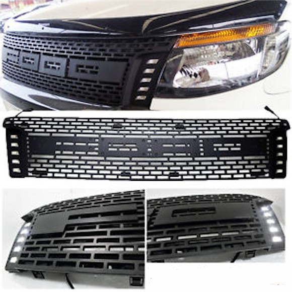 Ford Ranger Middle Grill Flat Shape With LED On Side