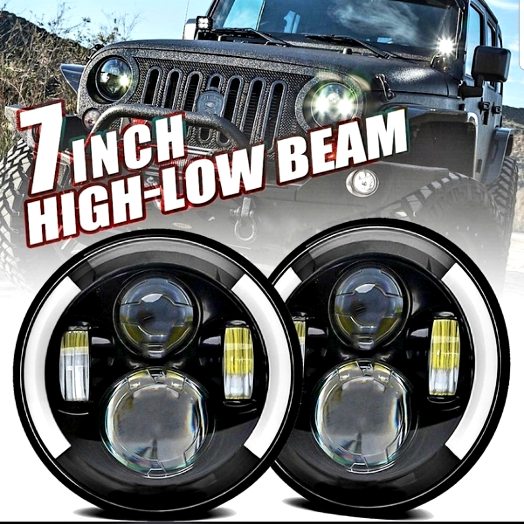 2Pcs 7 Inch Round LED Headlight Hi/Low Beam Halo Angle Eye