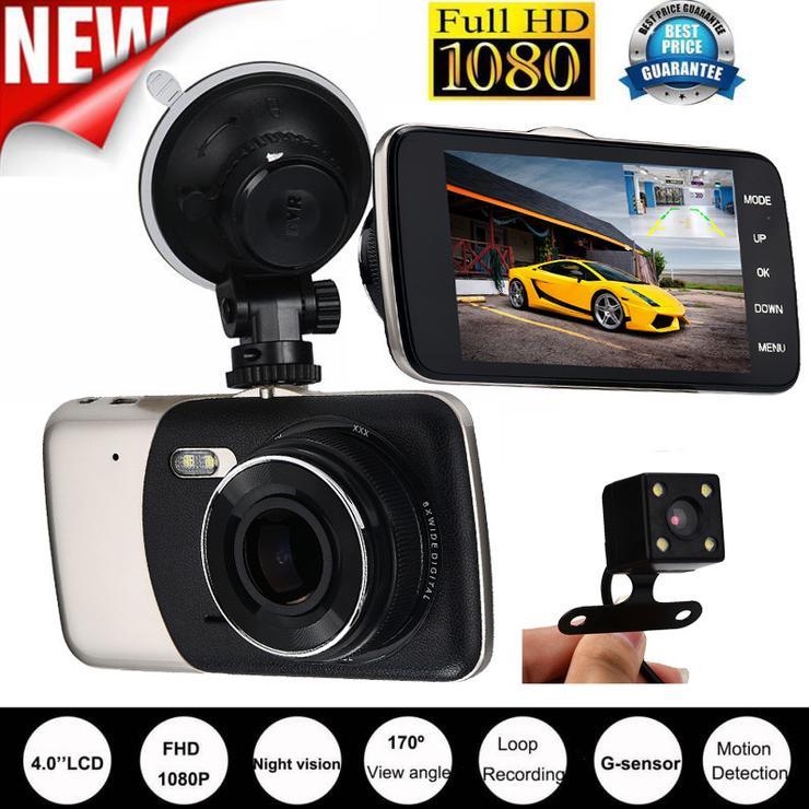 4″ IPS HD 1080P Car Dual Lens Camera DVR Video Recorder Rear Dash Cam G-sensor