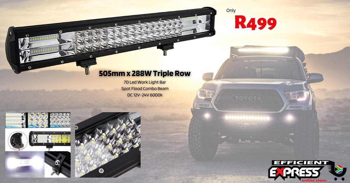 Led Light Bar / Led Spot Light 288 Watt Triple Row 7D Led Work Light Bar Spot Flood Combo Beam 505mm