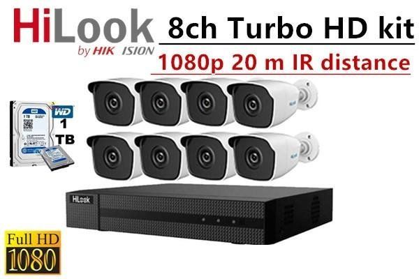 HiLook By Hikvision 8ch Turbo HD Kit – DVR – 8 X HD1080P Camera – 20M Night Vision – 1TB HD – 100m Cable