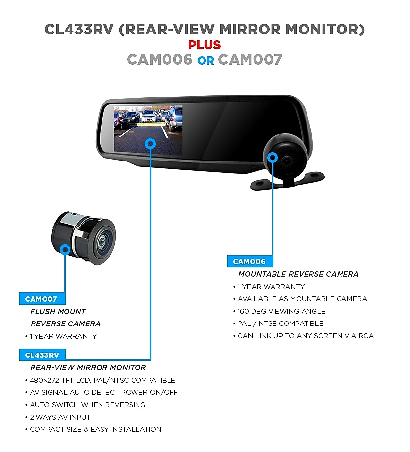 CL433RV Rear – View Mirror Monitor