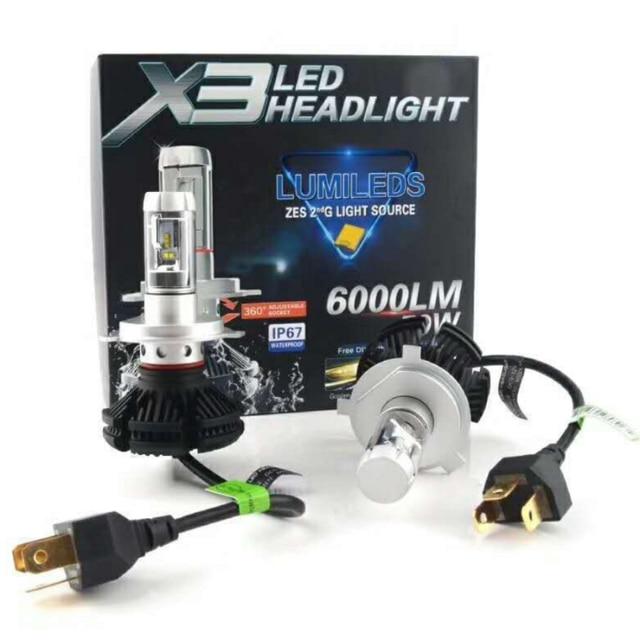 X3 Zes Car Led Headlight Conversion Kit 50w Auto Lights Hi-low Beam H4
