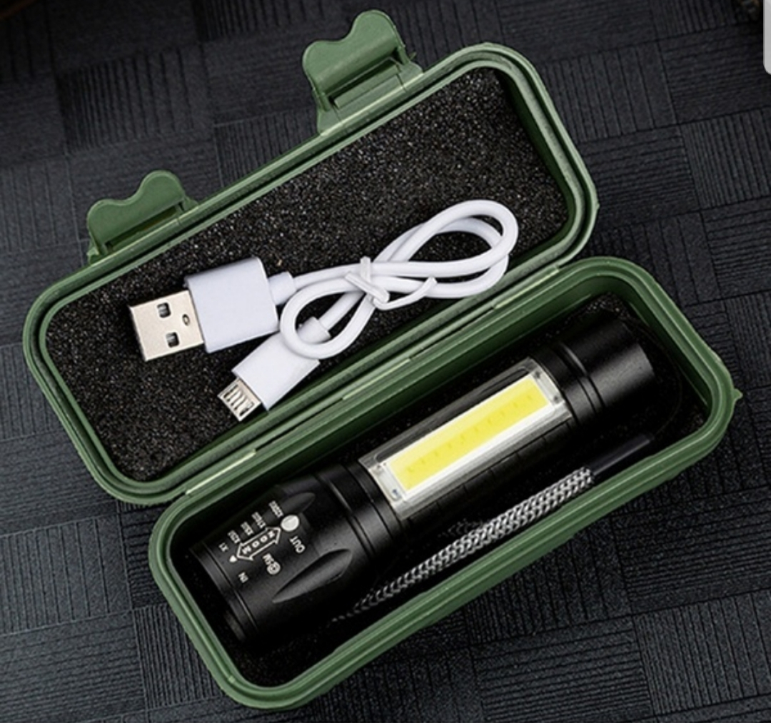 Multi-functional Led COB Torch Flashlight USB Rechargeable Work Light