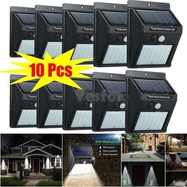 10 X Solar Powered LED Outdoor Wall Lamps Waterproof Motion Sensor COMBO SPECIAL