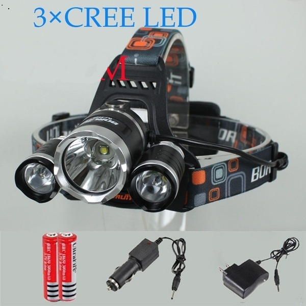 +3* LED Headlamp 2000LM 4 Modes + 2battery (Car Charger NOT Included)
