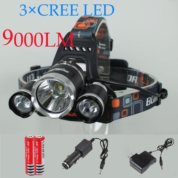 +3* LED Headlamp 9000LM 4 Modes + 2battery (Car Charger NOT Included)