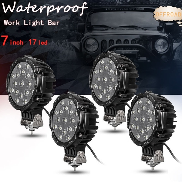 4 X 7inch 51W Round Off Road Led Work Lights Black COMBO SPECIAL