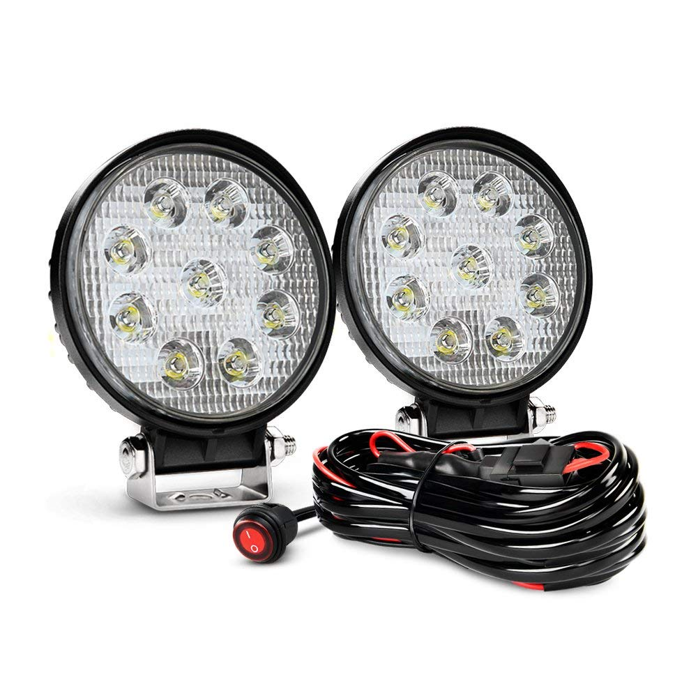 27W Round Spot Driving Lamp Jeep Fog Lights With Off Road Wiring Harness With Remote