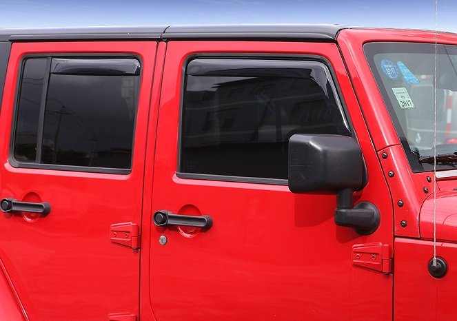 Jeep Wrangler Slide In 4 Door Window Deflector Rain Guard Black