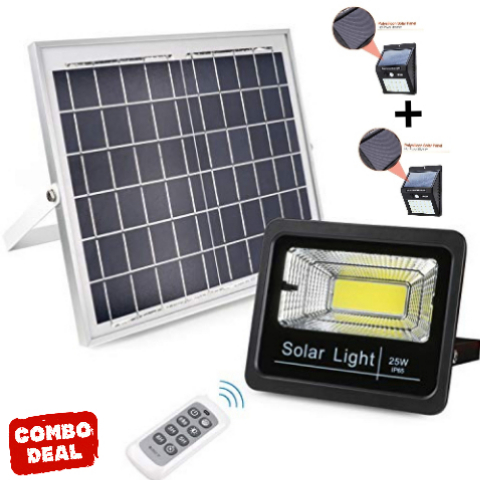 25 Watt Solar Flood Light With Remote And Day Night Sensor With 2 X Step Lights Combo