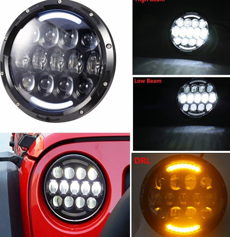 Jeep Wrangler 105 Watt 7 Inch With DRL And Indicator