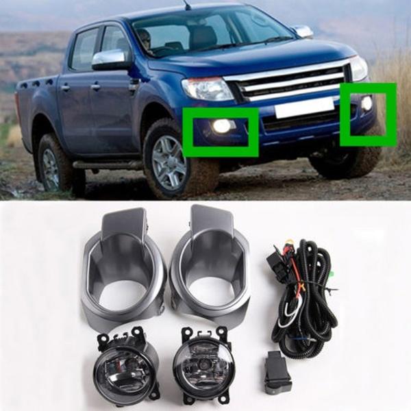 2 X White Fog Lamps Car Lights Chrome Bracket Silver Cover For Ford RANGER 2012-2015(Fit:2012)