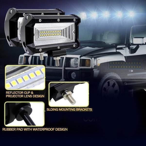 2 Pcs 5inch Car Off-Road Driving Fog Light, Spot Flood Combo LED Work Light Bar 72W