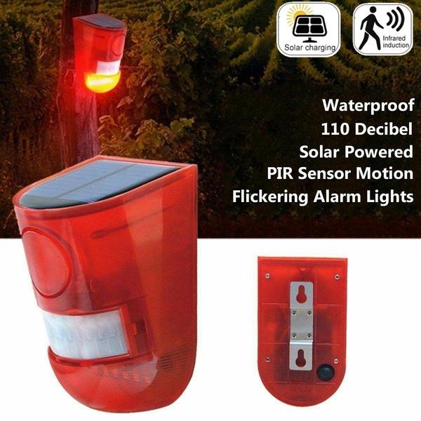 Solar Powered Infrared Motion Sensor Detector Siren Strobe Alarm System