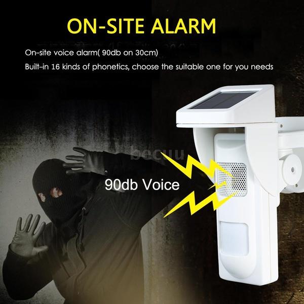 Solar Powered Dual Infrared Motion Sensor Detector Siren Strobe Alarm