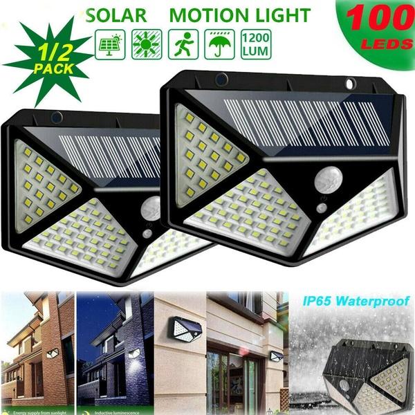 2 Pcs LED Solar Power Wall Light PIR Sensor Outdoor Garden Security Lamp Floodlight