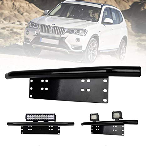 Lite Way 23inch License Plate Holder And Light Bar Mount Aluminum Bull Bar Style Front Bumper Number Plate Frame