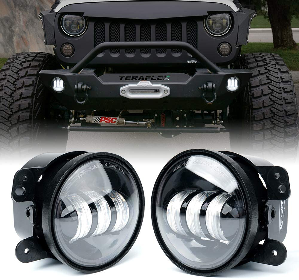 4 Inch LED Fog Lights For Jeep Wrangler JK Unlimited JKu 2007-2018 | Front Bumper Replacements 30 Watt White CREE Led Chip Driving Offroad Fog Lights