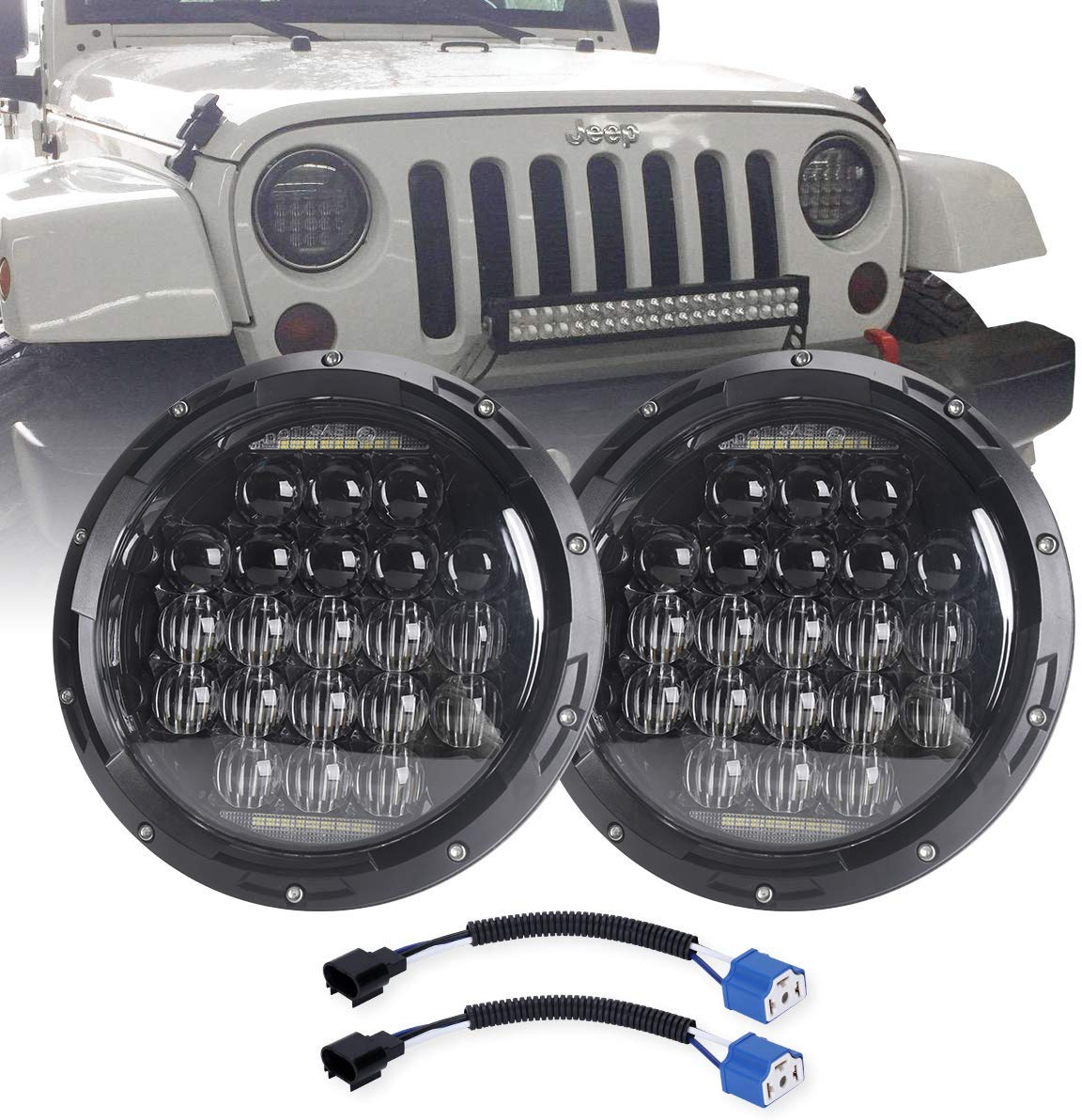 7 Inch Round 5D 2019 Newest Design 130w LED Projector Headlight With DRL For Jeep Wrangler JK TJ LJ CJ For Harley Motorcycles