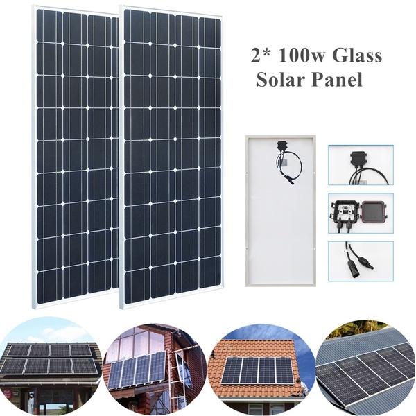 2pcs 100W 18V Solar Panel Glass Aluminum Mono Crystalline Cell PV Module