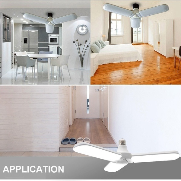 220V 30W Super Bright Fordable Fan Blade Angle Adjustable Ceiling Lamp Home Energy Saving Lights