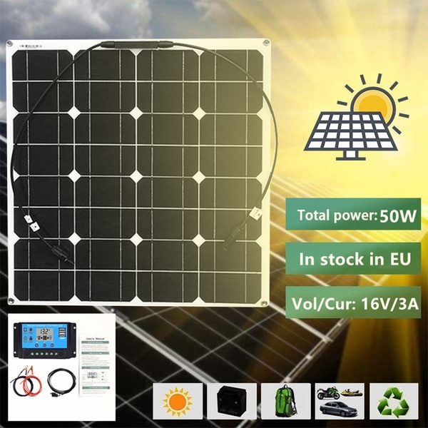 Monocrystalline Solar Panel Charger 50W With 10 Amph Solar Controller Solar Panel Kit DIY Solar Panel System COMBO