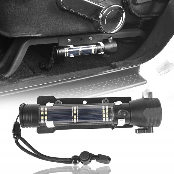 Outdoor Front Seat Flashlight Holder W/Flashlight (Batteries Not Included) For 2011-2018 Jeep JK Wrangler & Unlimited Sport Sahara Rubicon