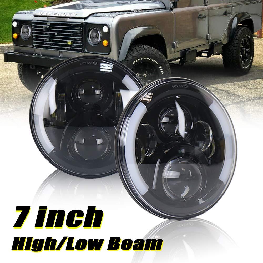 60 Watt Defender 7 Inch LED Headlight Kit – High Low Beam W/DRL Turn Signal Light Halo Headlight Assembly For Land Rover Defender Driving Light (Black Model)