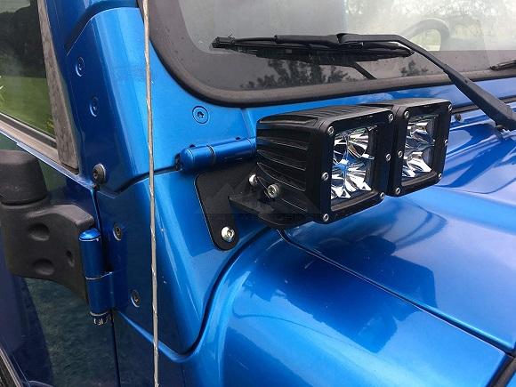 Jeep JK Wrangler A Pillar Windshield Dual Light Mounting Brackets 2010 To 2019