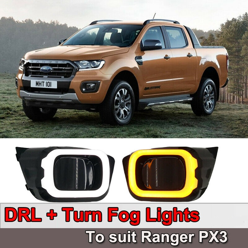 Ford Ranger T8 2019 LED DRL Daylight Car Light Headlamp ABS Fog Lamp Waterproof Head Light Cover With Signals