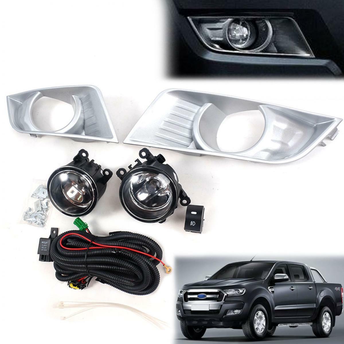 Fit 2015-2018 Ford Ranger T6 Wildtrak Spot Light Fog Lamp Chrome Pickup Set