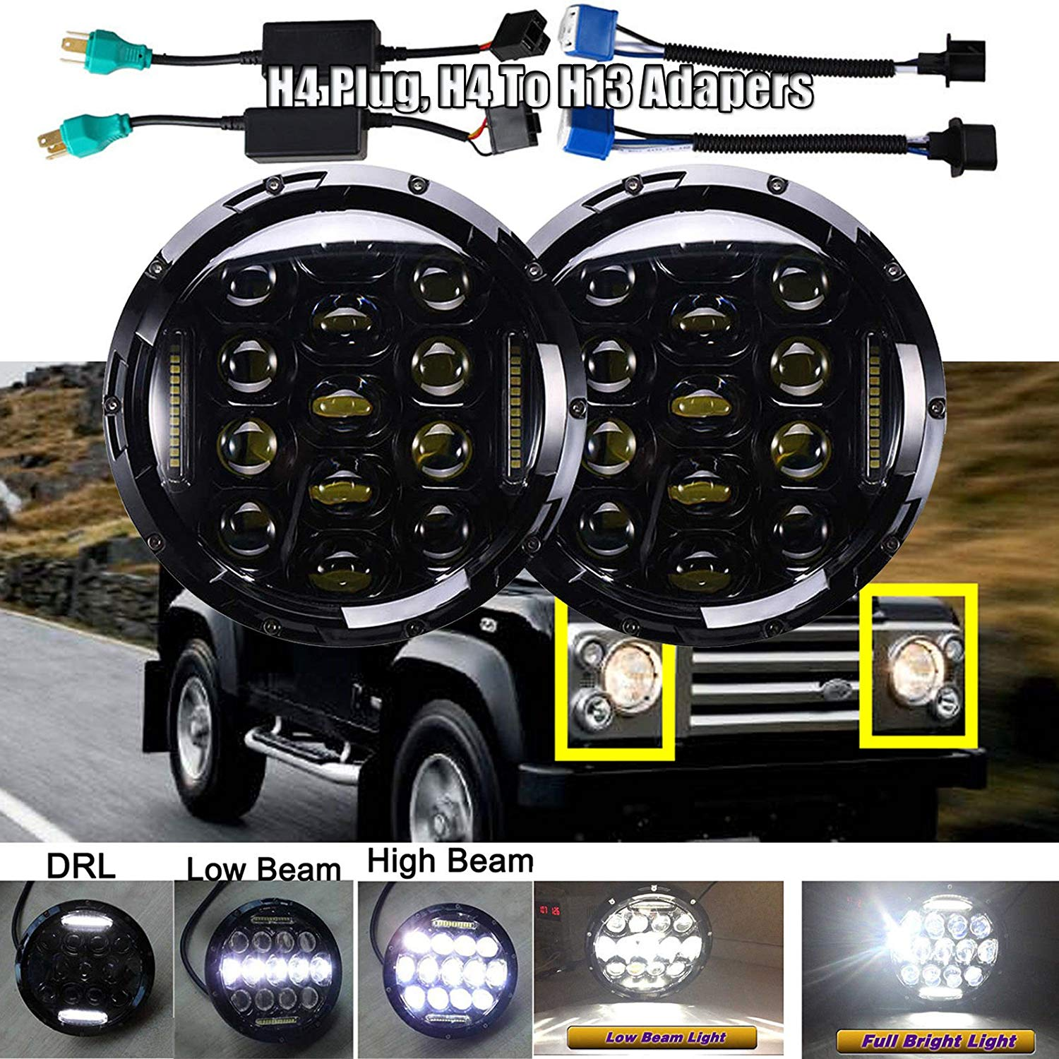 75 Watt 7 Inch Round LED Headlights Replacement Kit For Land Rover Defender 90 110 Range Rover And Land Cruiser Super Bright Sealed Beam