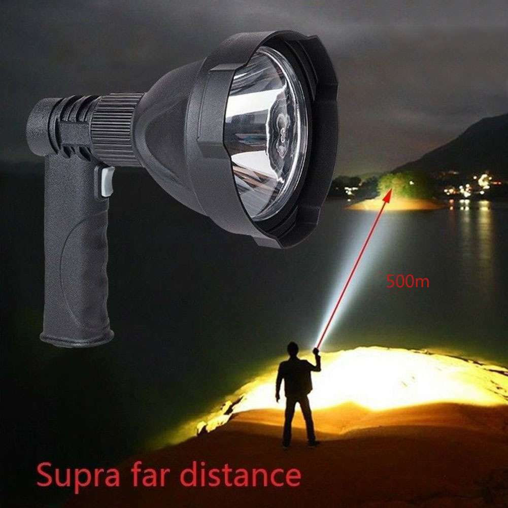 Rechargeable LED Handheld Camping Spotlight Torch Hunting Fishing SpotLight