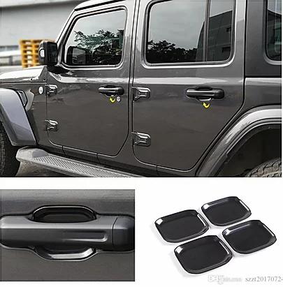 Jeep Wrangler JL 4-Door Black ABS Car Exterior Door Handle Bowl Cover