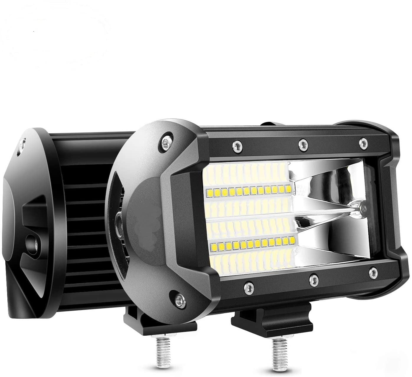 5Inch 72 Watt Double Row Flood Bar 10800Lumens Set Of 2 Led Light Bar / Led Spot Light