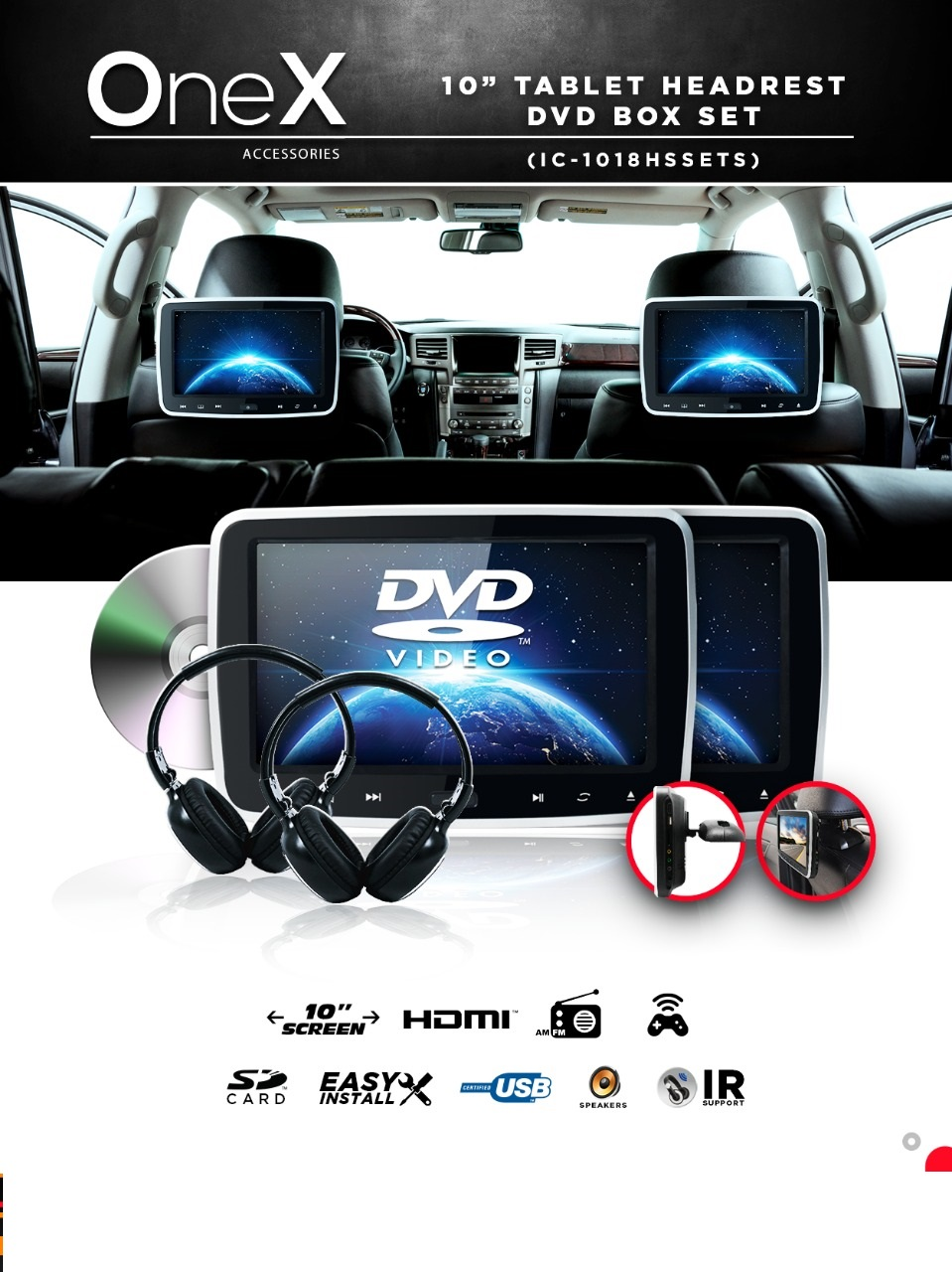 Portable Tablet DVD Player Set IC-1018HDSETS