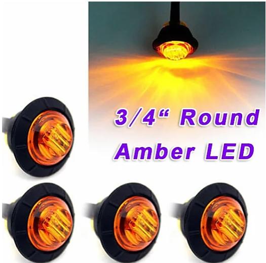 3/4 Inch Amber Color LED Marker Lights -pair 2