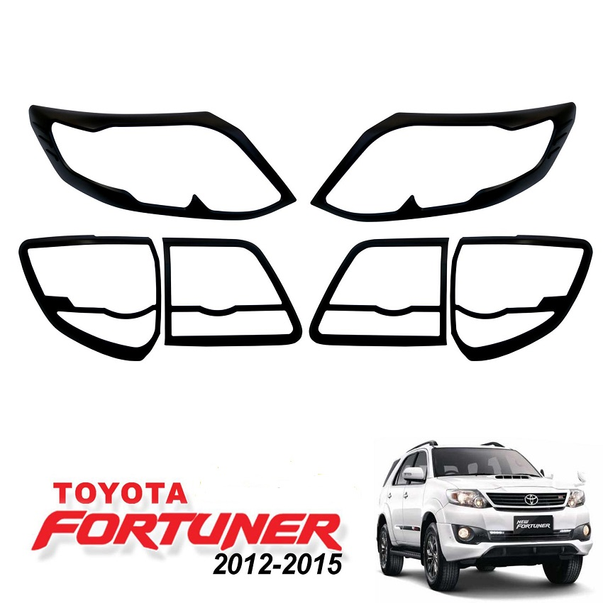Headlight And Tail Light Trim COMBO For Toyota Fortuner 2012 – 2015 Black NS