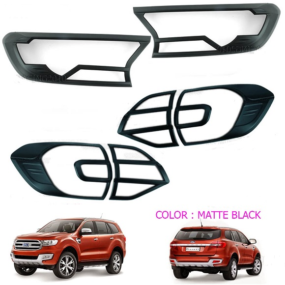 Ford Everest Headlight And Tail Light Trim Combo Set Black NS