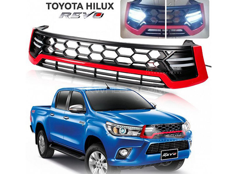 HILUX REVO SPORTY LED DRL FRONT GRILL RED NS