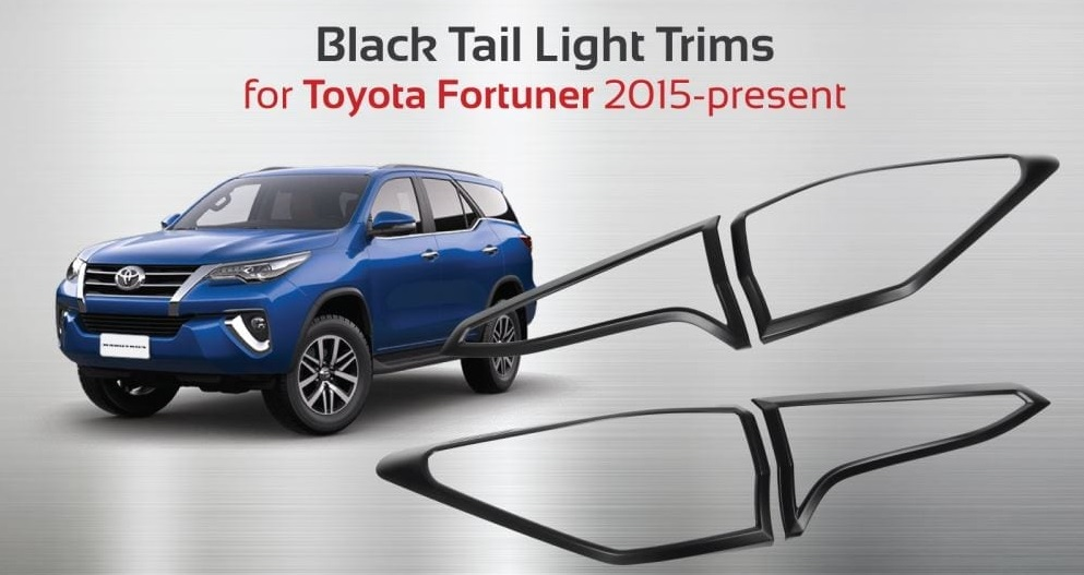 Black Tail Light Trims For Toyota Fortuner 2015+ NS
