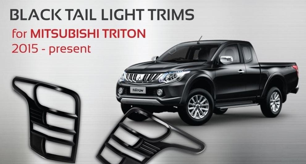 Tail Light Lamps Black Cover Trim Fit Mitsubishi Triton NS