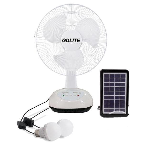 GD Lite Solar Rechargeable Fan + 220V Charge Cable Included